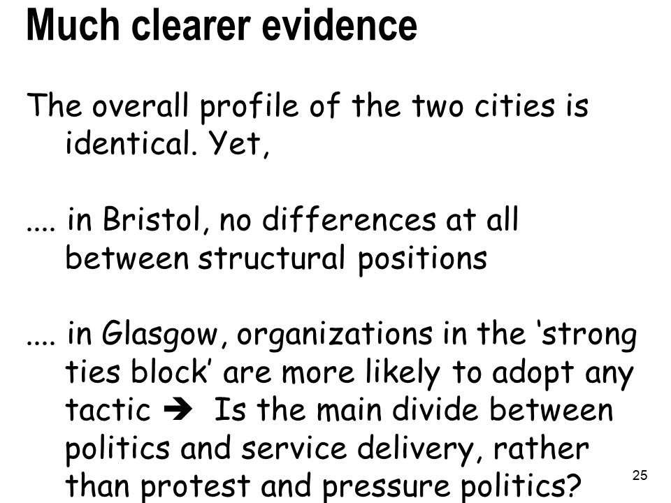 25 Much clearer evidence The overall profile of the two cities is identical.