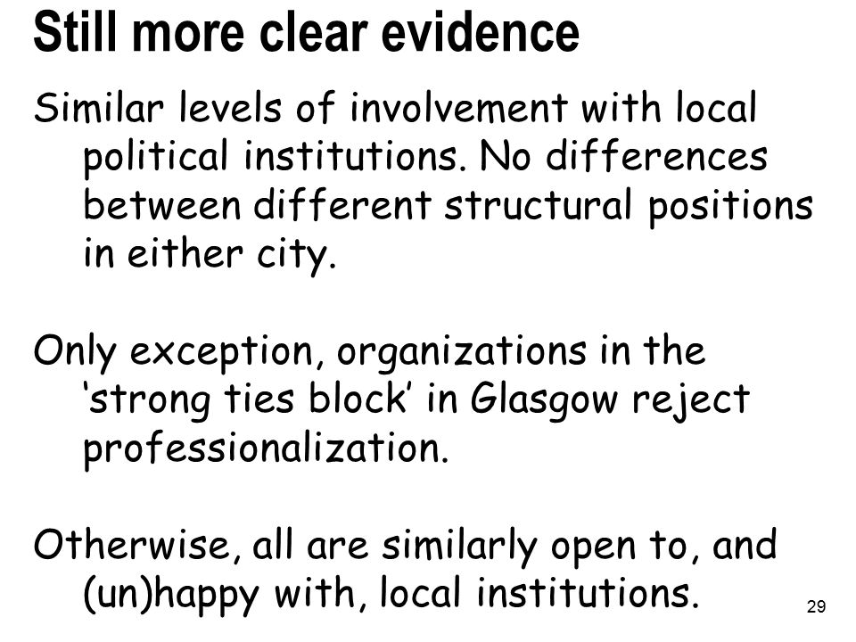 29 Still more clear evidence Similar levels of involvement with local political institutions.