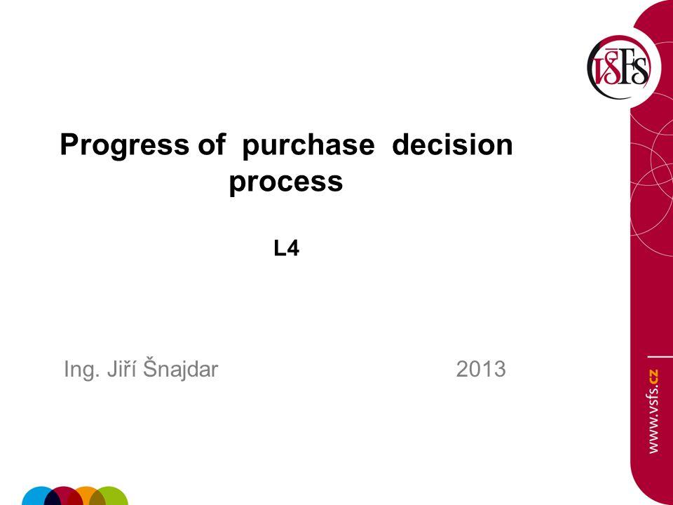 Progress of purchase decision process L4 Ing. Jiří Šnajdar 2013