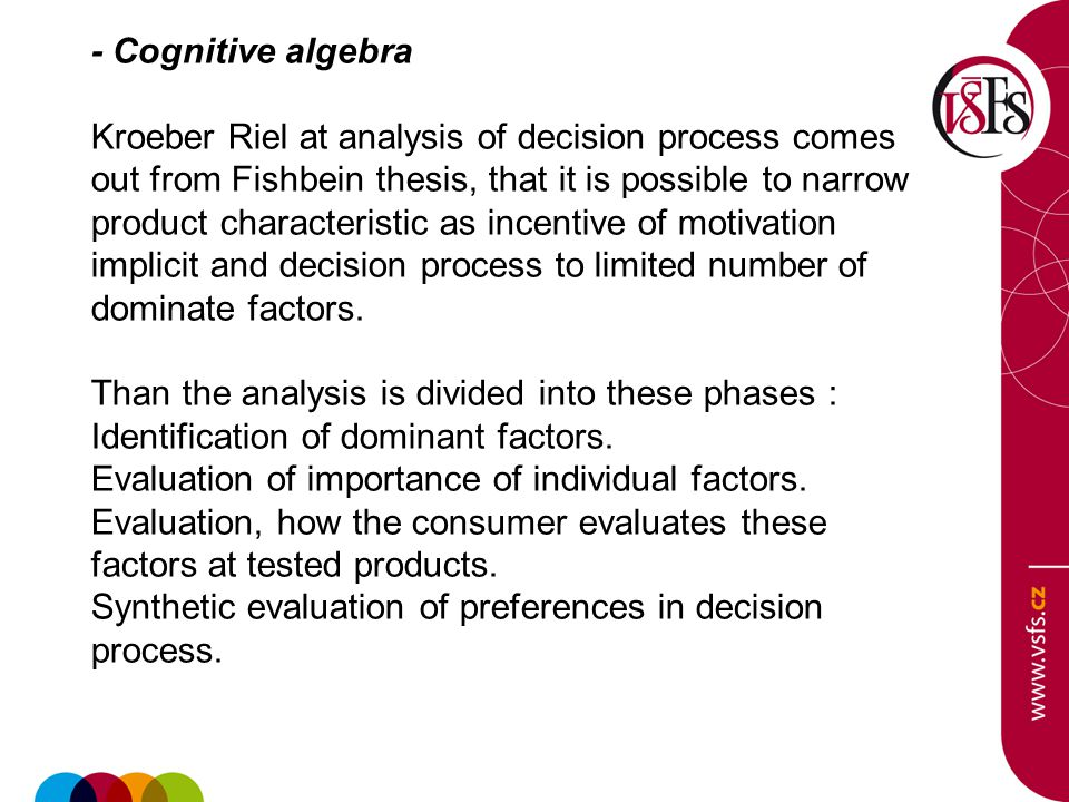 - Cognitive algebra Kroeber Riel at analysis of decision process comes out from Fishbein thesis, that it is possible to narrow product characteristic