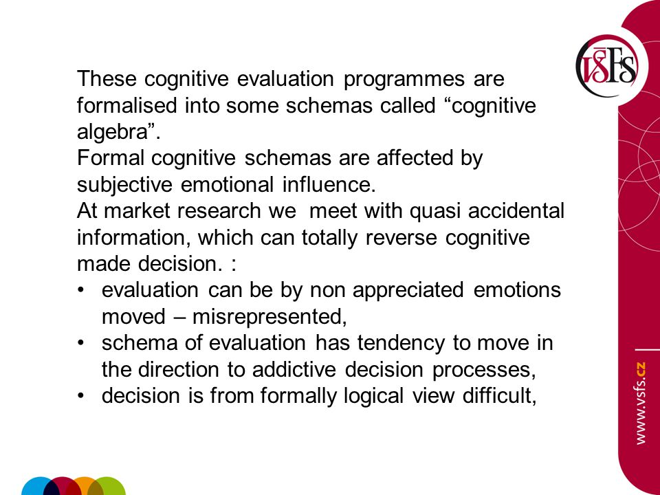 These cognitive evaluation programmes are formalised into some schemas called cognitive algebra .