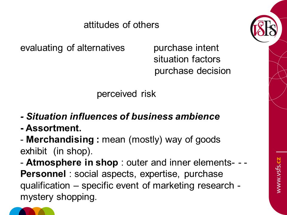 attitudes of others evaluating of alternatives purchase intent situation factors purchase decision perceived risk - Situation influences of business ambience - Assortment.