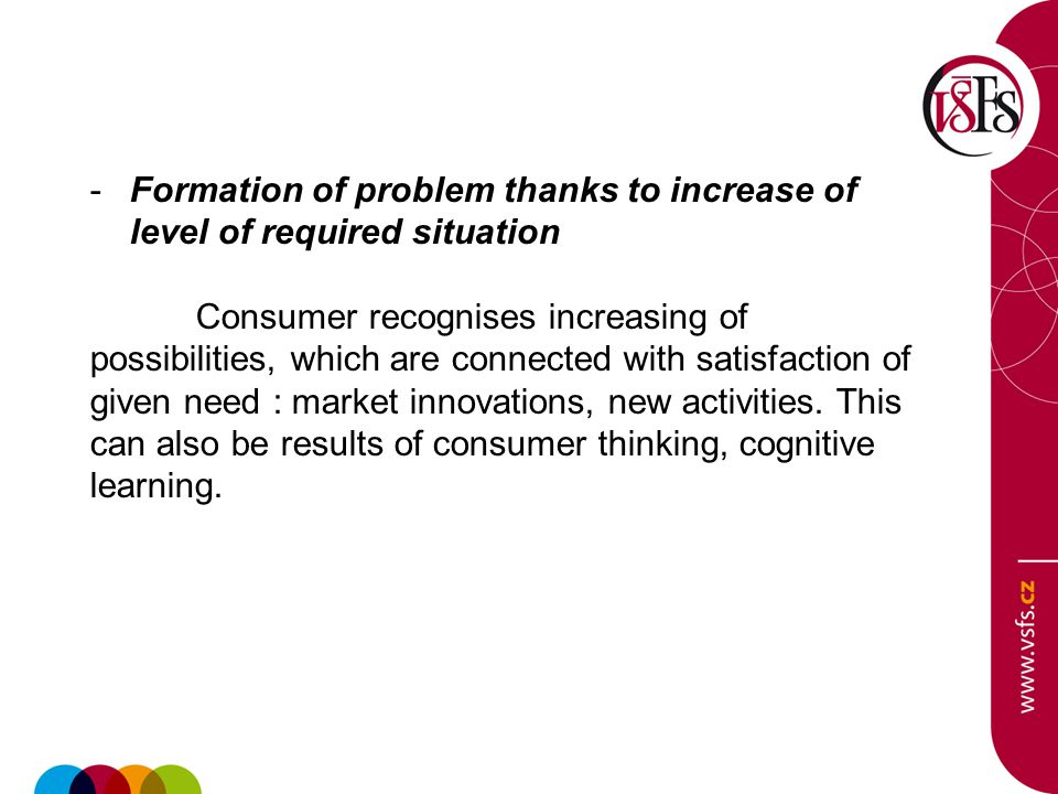 -Formation of problem thanks to increase of level of required situation Consumer recognises increasing of possibilities, which are connected with sati
