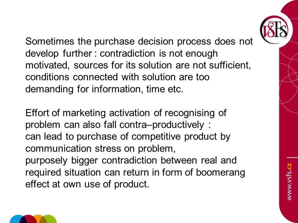 Searching for information Problem recognising leads the consumer to searching for relevant information.