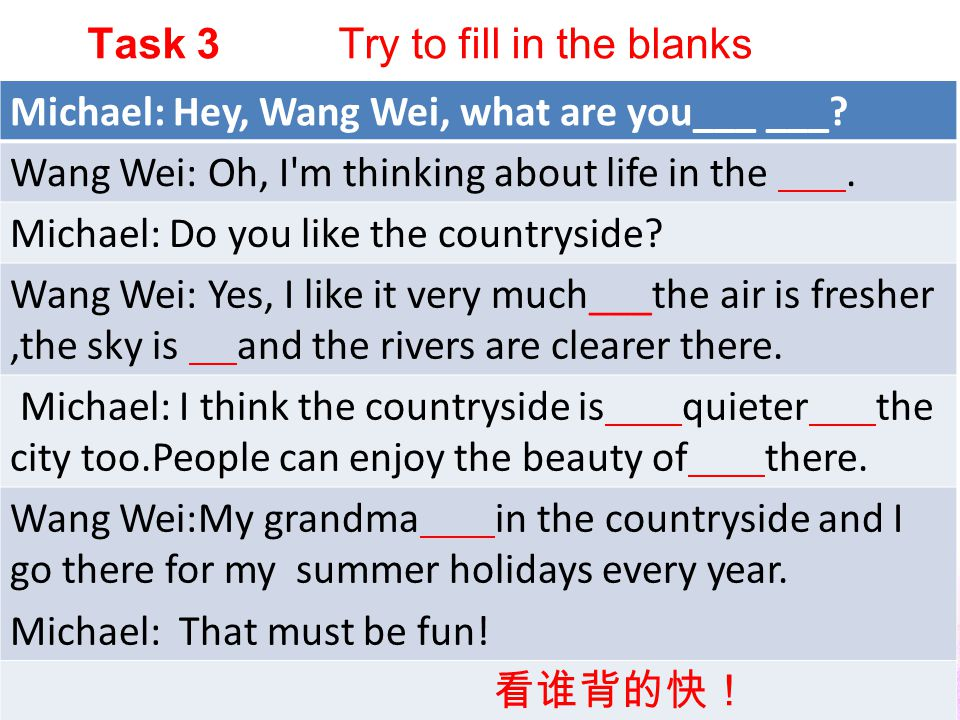 Wang Wei likes the countryside very much because he thinks the air is _________, the sky is _______ and the rivers are ________ there.