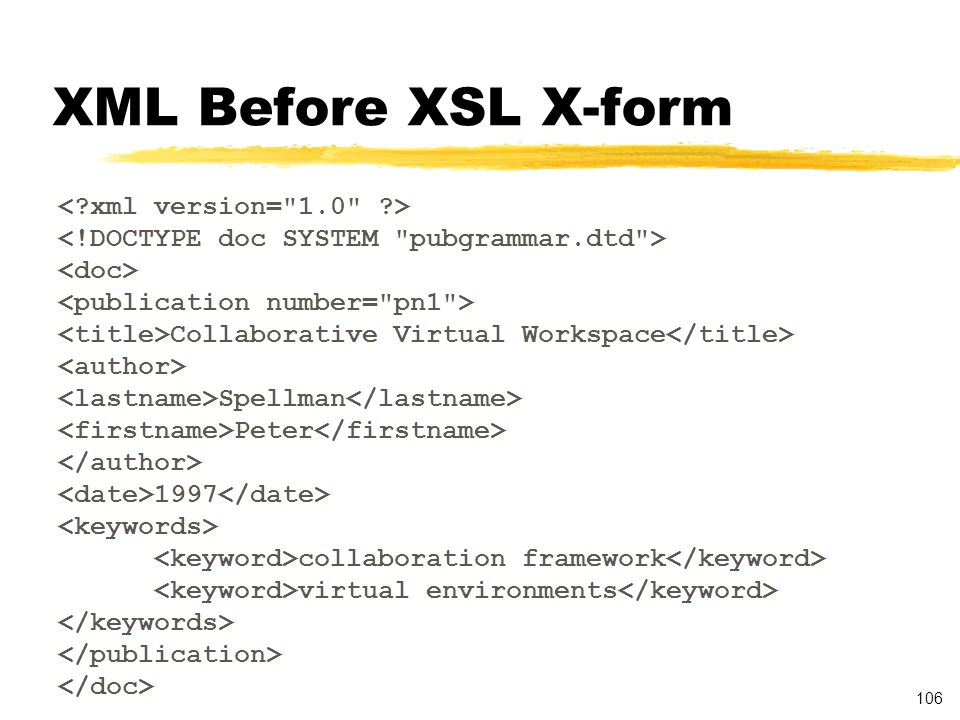 106 XML Before XSL X-form Collaborative Virtual Workspace Spellman Peter 1997 collaboration framework virtual environments