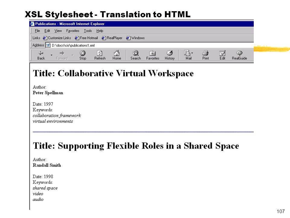 107 XSL Stylesheet - Translation to HTML
