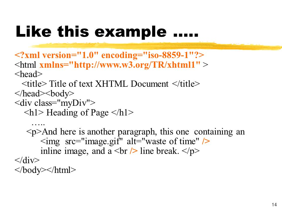 14 Like this example ….. Title of text XHTML Document Heading of Page …..