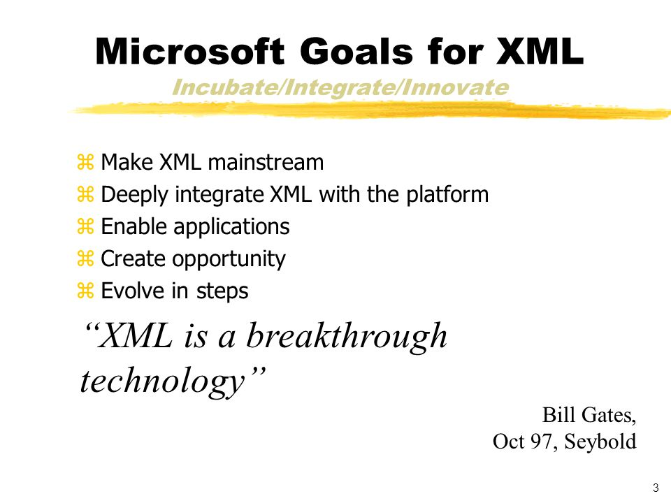 3 Microsoft Goals for XML Incubate/Integrate/Innovate zMake XML mainstream zDeeply integrate XML with the platform zEnable applications zCreate opportunity zEvolve in steps XML is a breakthrough technology Bill Gates, Oct 97, Seybold