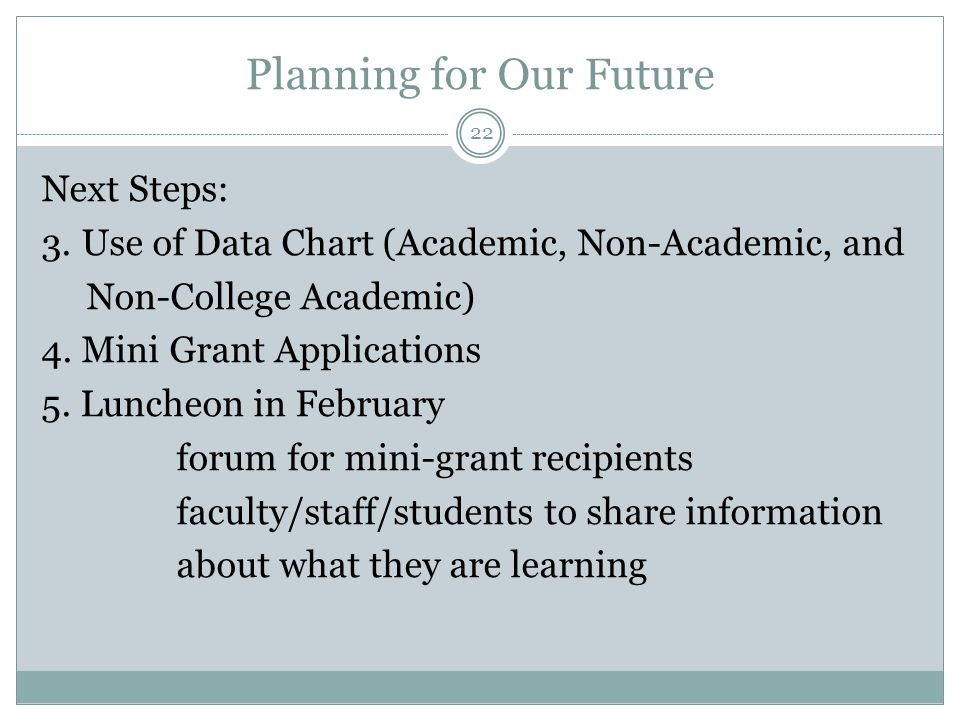 Planning for Our Future Next Steps: 3. Use of Data Chart (Academic, Non-Academic, and Non-College Academic) 4. Mini Grant Applications 5. Luncheon in
