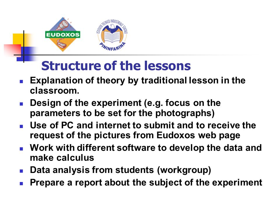 Explanation of theory by traditional lesson in the classroom.