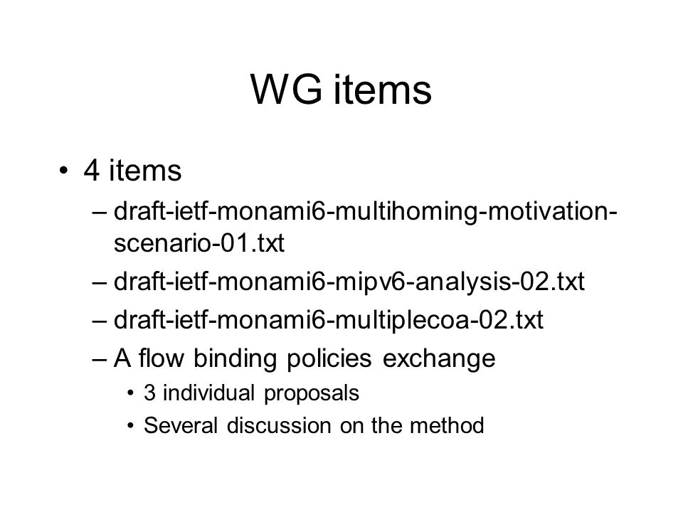 WG tools Set up a wiki Set up of an issue tracker => Please feel free to use them Thanks to Henrik…