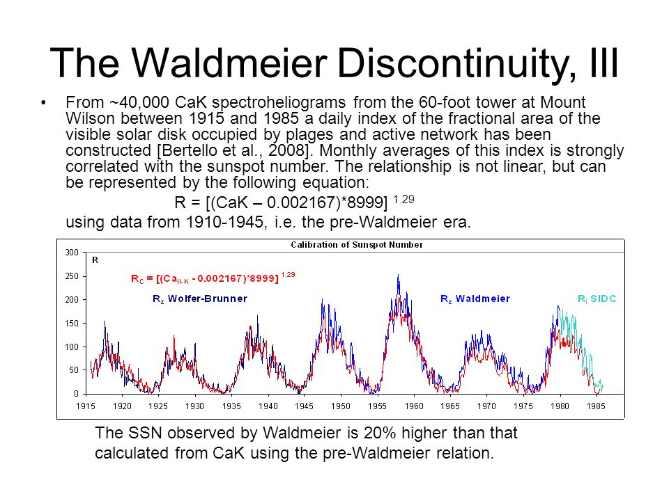 The Waldmeier Discontinuity, III From ~40,000 CaK spectroheliograms from the 60-foot tower at Mount Wilson between 1915 and 1985 a daily index of the fractional area of the visible solar disk occupied by plages and active network has been constructed [Bertello et al., 2008].