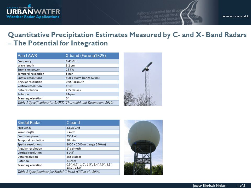 Jesper Ellerbæk Nielsen 2 of 5 URBANWATER Weather Radar Applications Stratiform precipitation – Example 1 09 June 2009 C-band LAWR I case of widespread low-laying precipitation the upper part of the LAWR beam will break out of the precipi- tation quite close to the radar due to the large vertical opening angle.