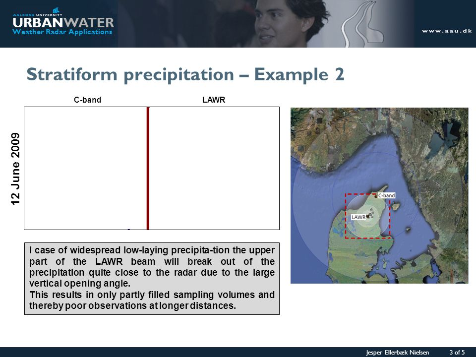 Jesper Ellerbæk Nielsen 4 of 5 URBANWATER Weather Radar Applications Convective precipitation – Example 1 06 July 2009 In the case of convective precipitation, the vertical extent of the precipitation is much higher and partly filled sampling volumes are no issue for the LAWR radar.