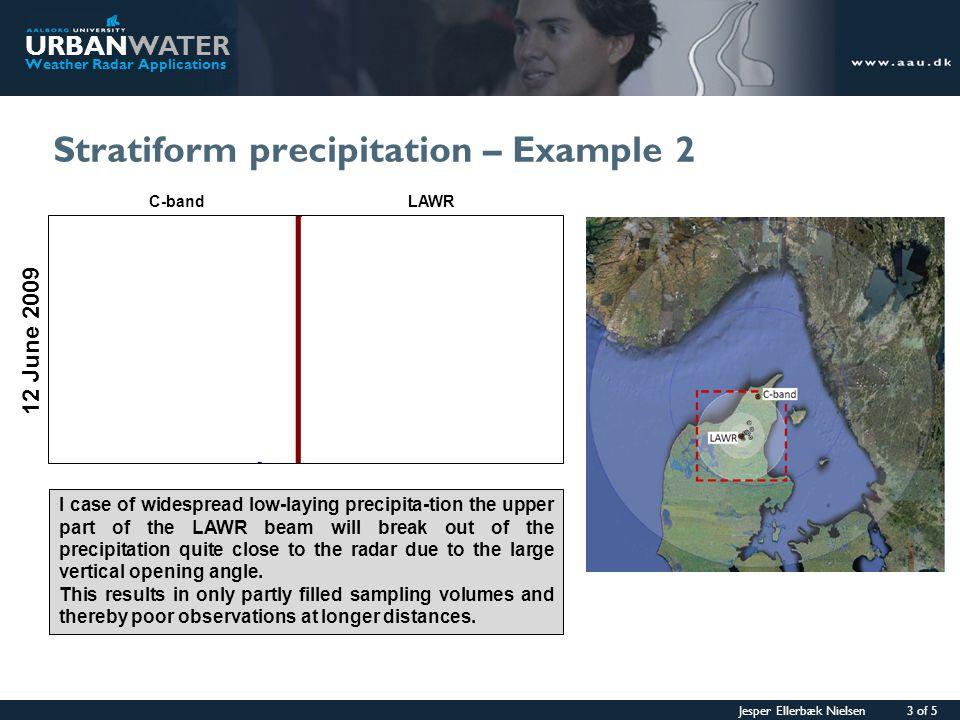 Jesper Ellerbæk Nielsen 3 of 5 URBANWATER Weather Radar Applications Stratiform precipitation – Example 2 12 June 2009 I case of widespread low-laying