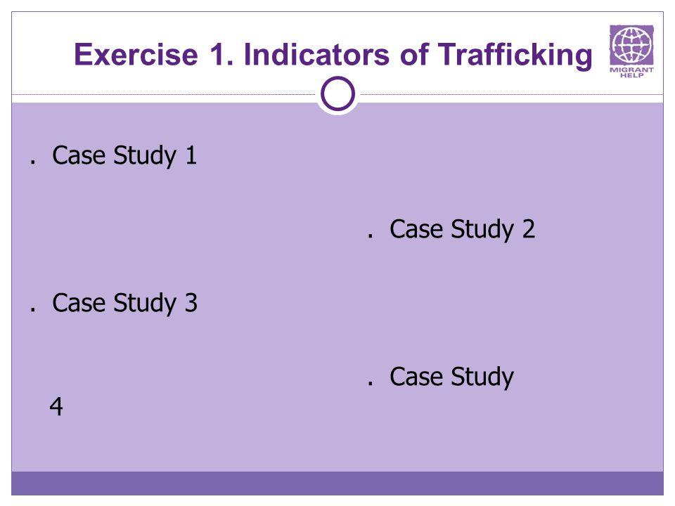 Exercise 1. Indicators of Trafficking. Case Study 1. Case Study 2. Case Study 3. Case Study 4