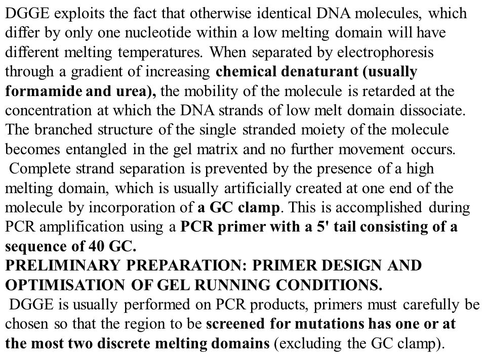 DGGE exploits the fact that otherwise identical DNA molecules, which differ by only one nucleotide within a low melting domain will have different mel