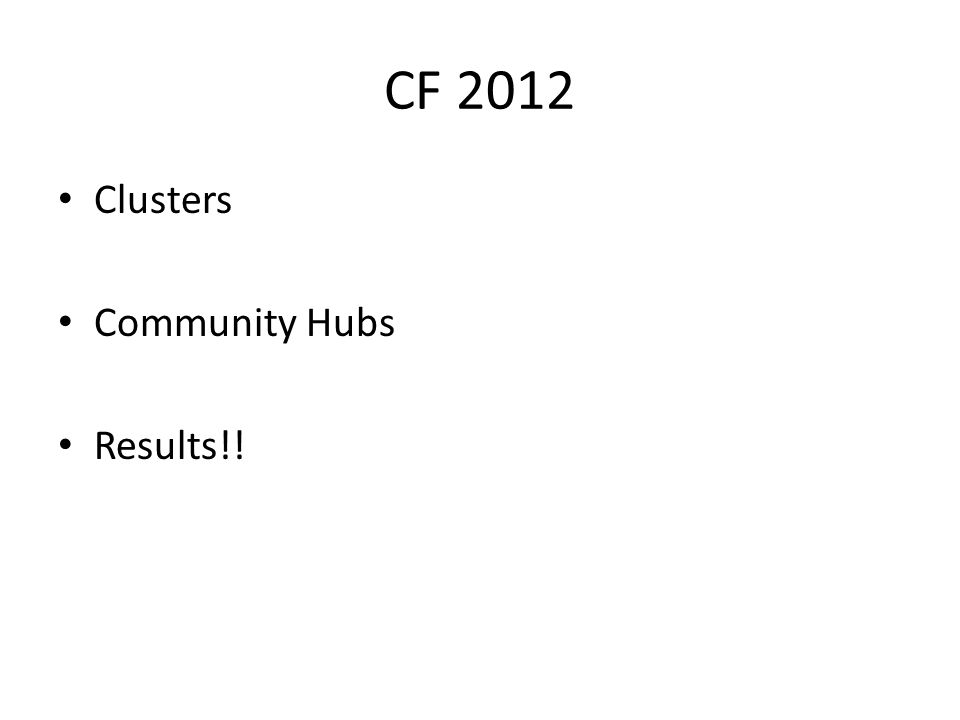 CF 2012 Clusters Community Hubs Results!!