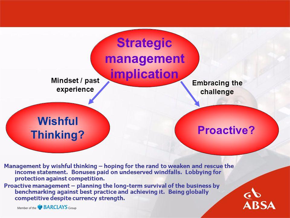 Strategic management implication Proactive. Wishful Thinking.