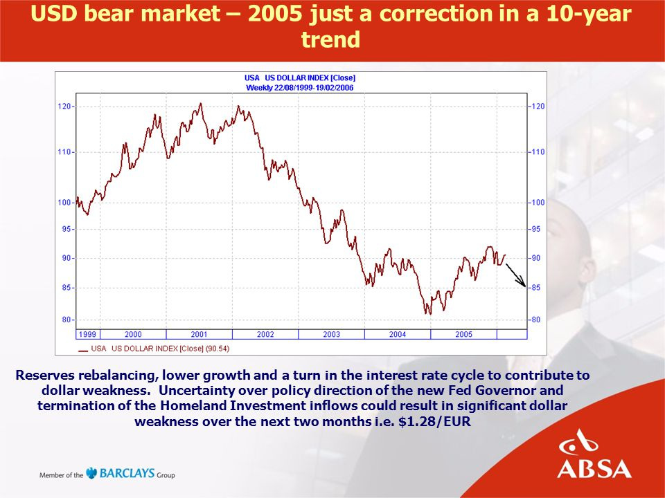 USD bear market – 2005 just a correction in a 10-year trend Reserves rebalancing, lower growth and a turn in the interest rate cycle to contribute to