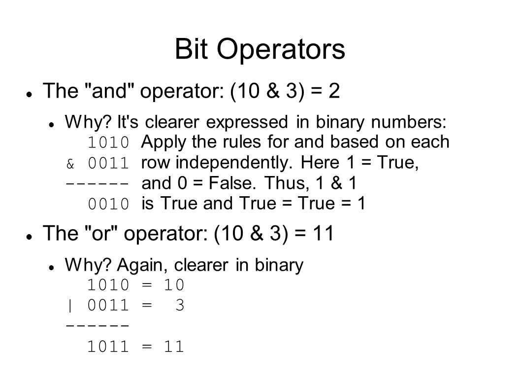 Bit Operators The
