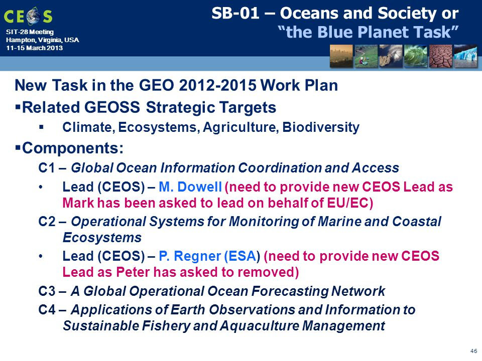 "SIT-28 Meeting Hampton, Virginia, USA 11-15 March 2013 46 SB-01 – Oceans and Society or ""the Blue Planet Task"" New Task in the GEO 2012-2015 Work Plan"