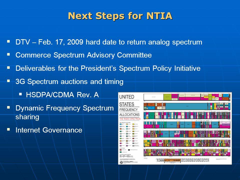 Next Steps for NTIA  DTV – Feb. 17, 2009 hard date to return analog spectrum  Commerce Spectrum Advisory Committee  Deliverables for the President'