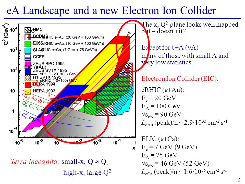 12 eA Landscape and a new Electron Ion Collider The x, Q 2 plane looks well mapped out – doesn't it.