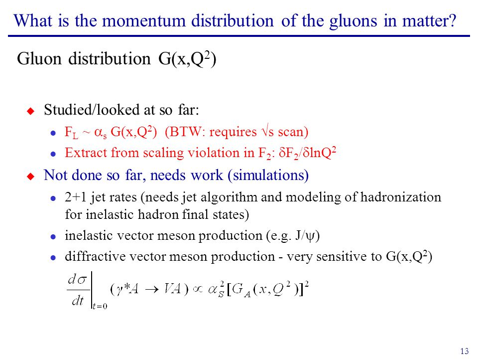 13 What is the momentum distribution of the gluons in matter.