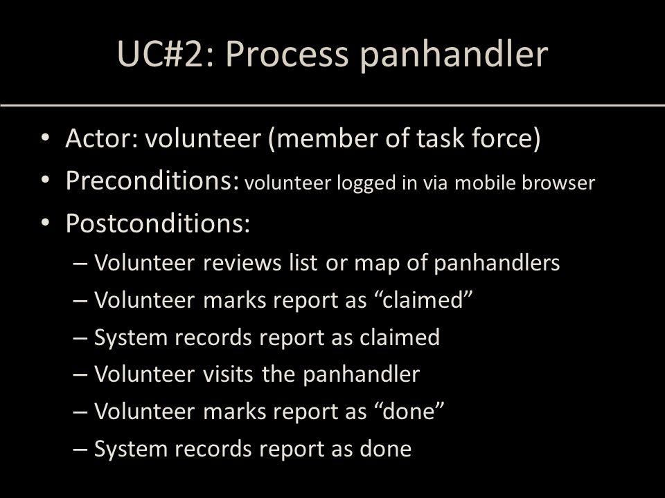 UC#2: Process panhandler Actor: volunteer (member of task force) Preconditions: volunteer logged in via mobile browser Postconditions: – Volunteer rev