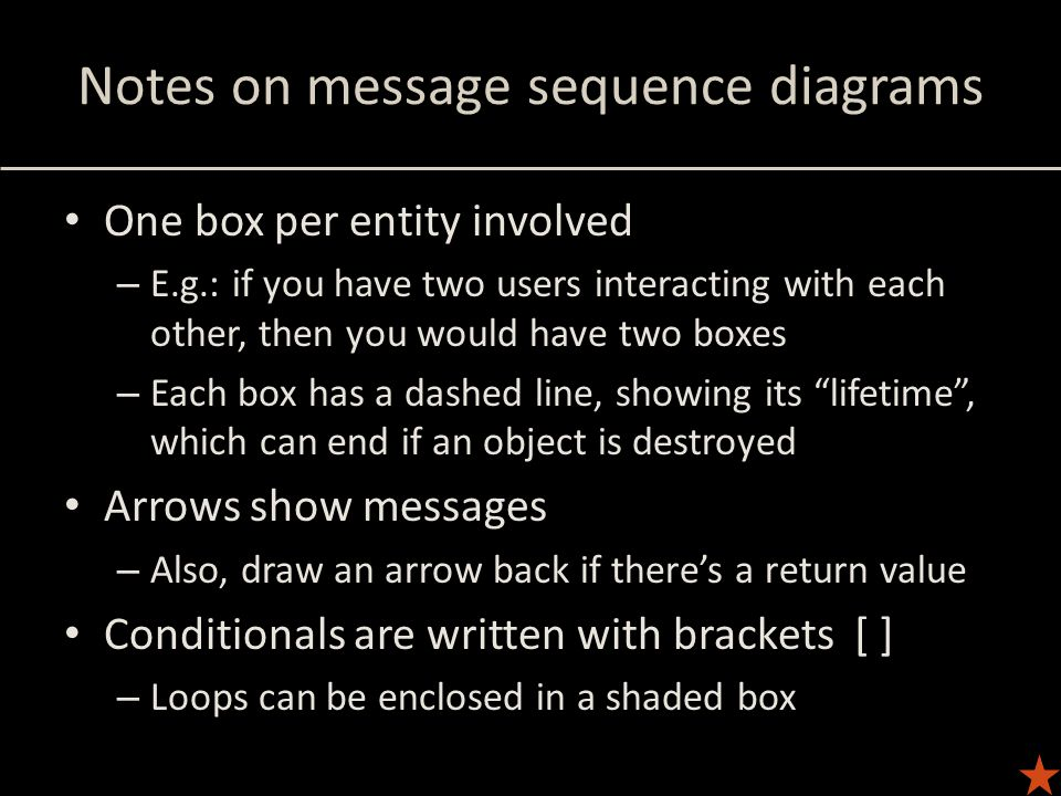 Notes on message sequence diagrams One box per entity involved – E.g.: if you have two users interacting with each other, then you would have two boxe
