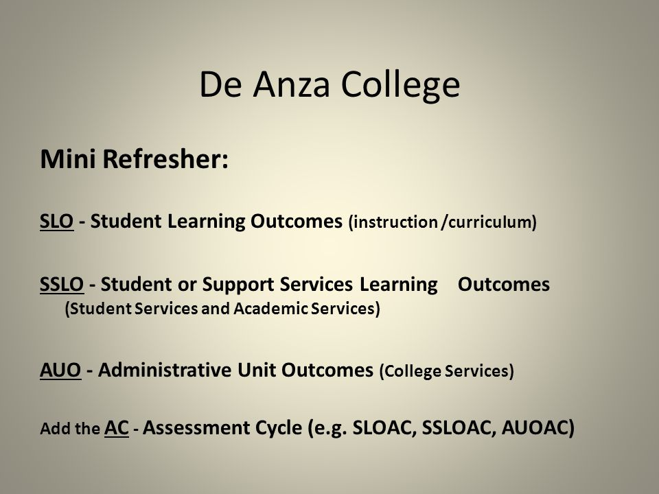 De Anza College WHAT IS THE ….AC.