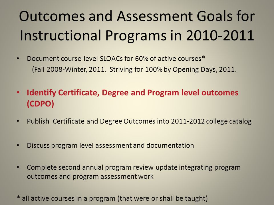 Outcomes and Assessment Goals for Instructional Programs in 2010-2011 Document course-level SLOACs for 60% of active courses* (Fall 2008-Winter, 2011.