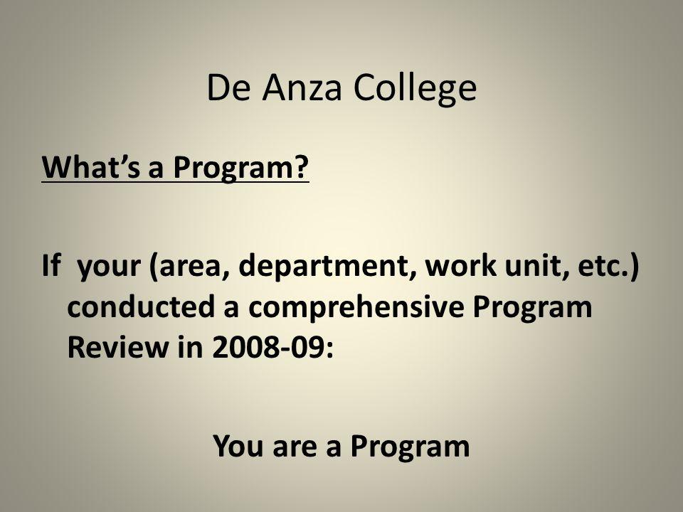 De Anza College What's a Program.