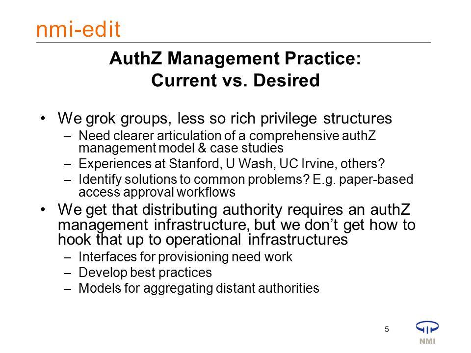 5 AuthZ Management Practice: Current vs.