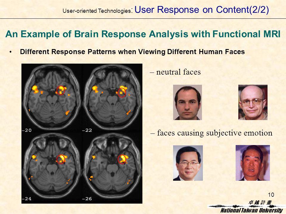 卓 越 計 畫卓 越 計 畫 National Taiwan University 10 Different Response Patterns when Viewing Different Human Faces An Example of Brain Response Analysis with Functional MRI – neutral faces – faces causing subjective emotion User-oriented Technologies : User Response on Content(2/2)