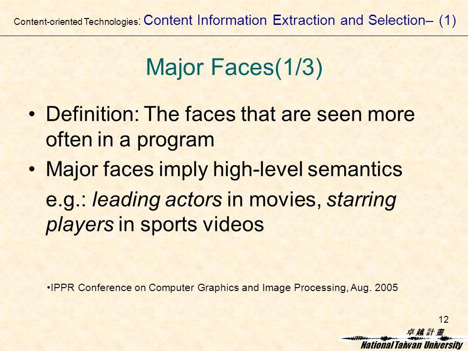 卓 越 計 畫卓 越 計 畫 National Taiwan University 12 Major Faces(1/3) Definition: The faces that are seen more often in a program Major faces imply high-level semantics e.g.: leading actors in movies, starring players in sports videos Content-oriented Technologies : Content Information Extraction and Selection– (1) IPPR Conference on Computer Graphics and Image Processing, Aug.