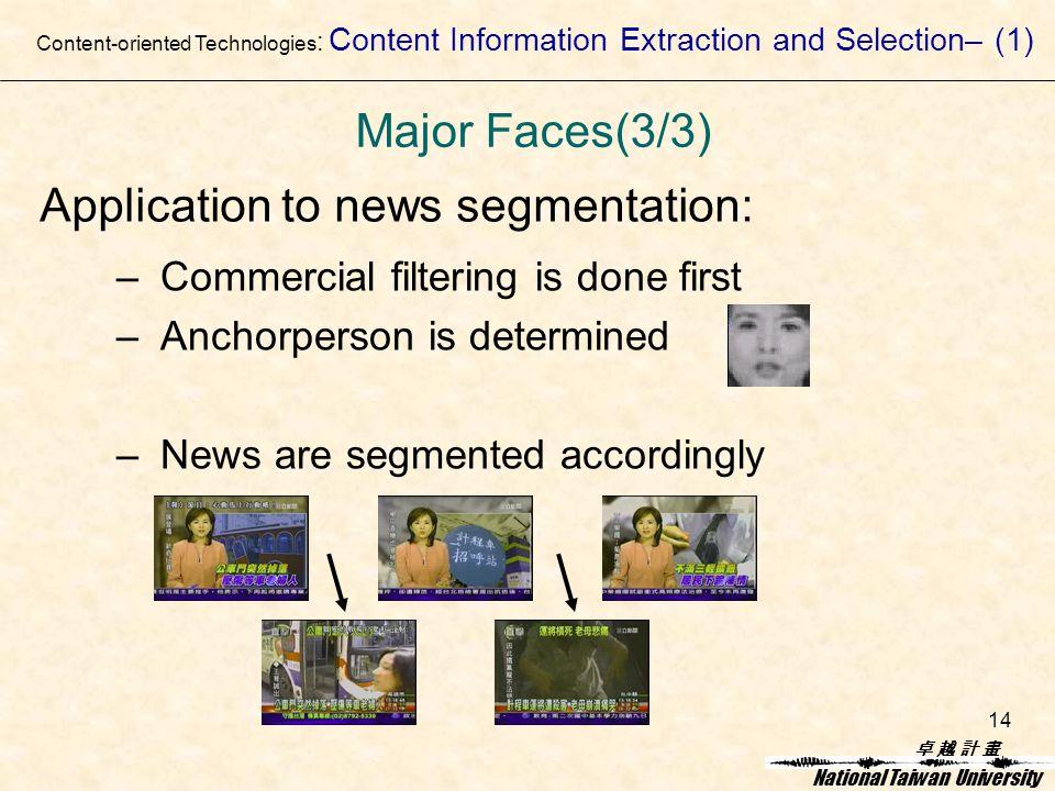 卓 越 計 畫卓 越 計 畫 National Taiwan University 14 Application to news segmentation: – Commercial filtering is done first – Anchorperson is determined – News are segmented accordingly Content-oriented Technologies : Content Information Extraction and Selection– (1) Major Faces(3/3)