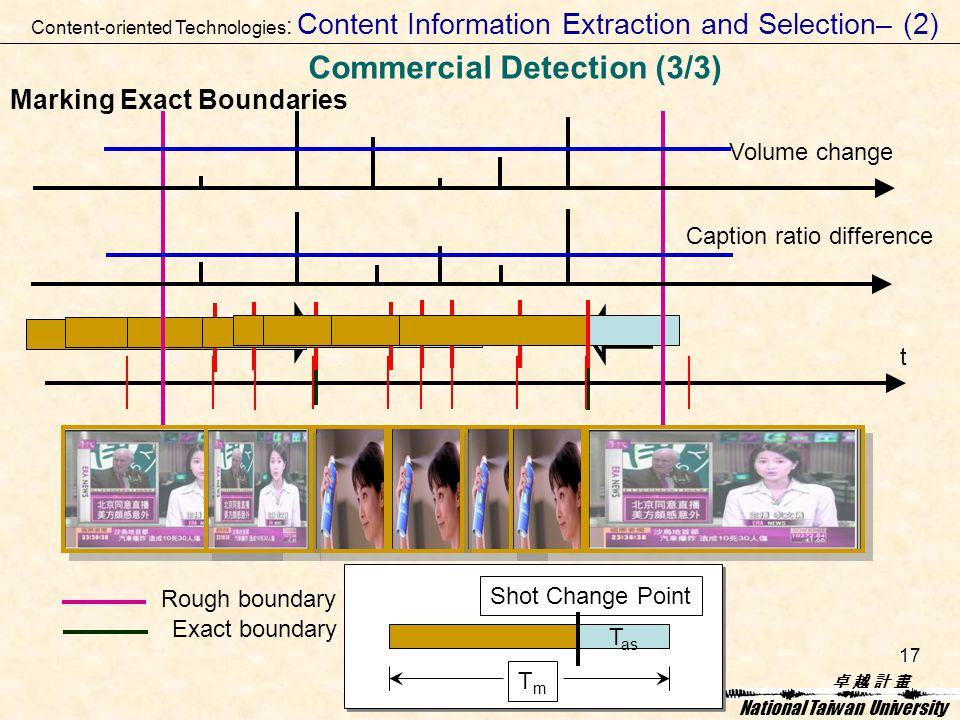 卓 越 計 畫卓 越 計 畫 National Taiwan University 17 Marking Exact Boundaries T as TmTm Shot Change Point t Caption ratio difference Volume change Rough boundary Exact boundary Content-oriented Technologies : Content Information Extraction and Selection– (2) Commercial Detection (3/3)