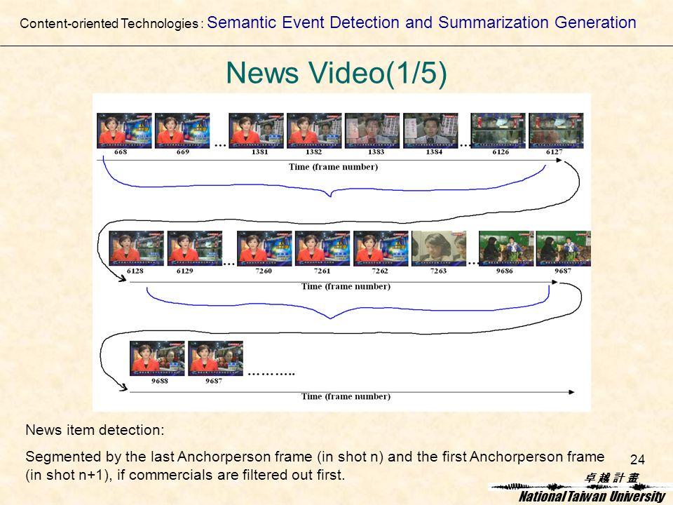卓 越 計 畫卓 越 計 畫 National Taiwan University 24 News item detection: Segmented by the last Anchorperson frame (in shot n) and the first Anchorperson frame (in shot n+1), if commercials are filtered out first.