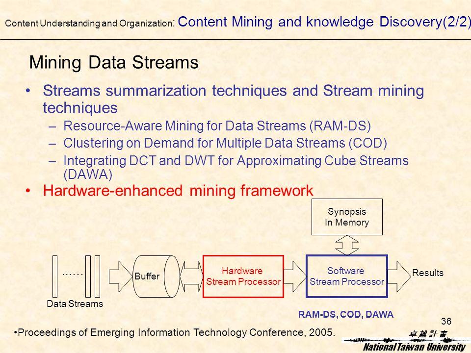 卓 越 計 畫卓 越 計 畫 National Taiwan University 36 Mining Data Streams Streams summarization techniques and Stream mining techniques –Resource-Aware Mining for Data Streams (RAM-DS) –Clustering on Demand for Multiple Data Streams (COD) –Integrating DCT and DWT for Approximating Cube Streams (DAWA) Hardware-enhanced mining framework Hardware Stream Processor Software Stream Processor Buffer Synopsis In Memory...… Data Streams Results RAM-DS, COD, DAWA Content Understanding and Organization : Content Mining and knowledge Discovery(2/2) Proceedings of Emerging Information Technology Conference, 2005.