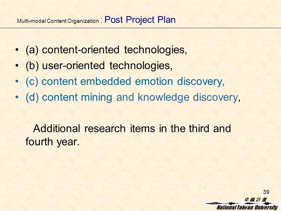 卓 越 計 畫卓 越 計 畫 National Taiwan University 39 Multi-modal Content Organization : Post Project Plan (a) content-oriented technologies, (b) user-oriented technologies, (c) content embedded emotion discovery, (d) content mining and knowledge discovery, Additional research items in the third and fourth year.