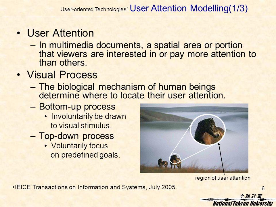 卓 越 計 畫卓 越 計 畫 National Taiwan University 6 User Attention –In multimedia documents, a spatial area or portion that viewers are interested in or pay more attention to than others.