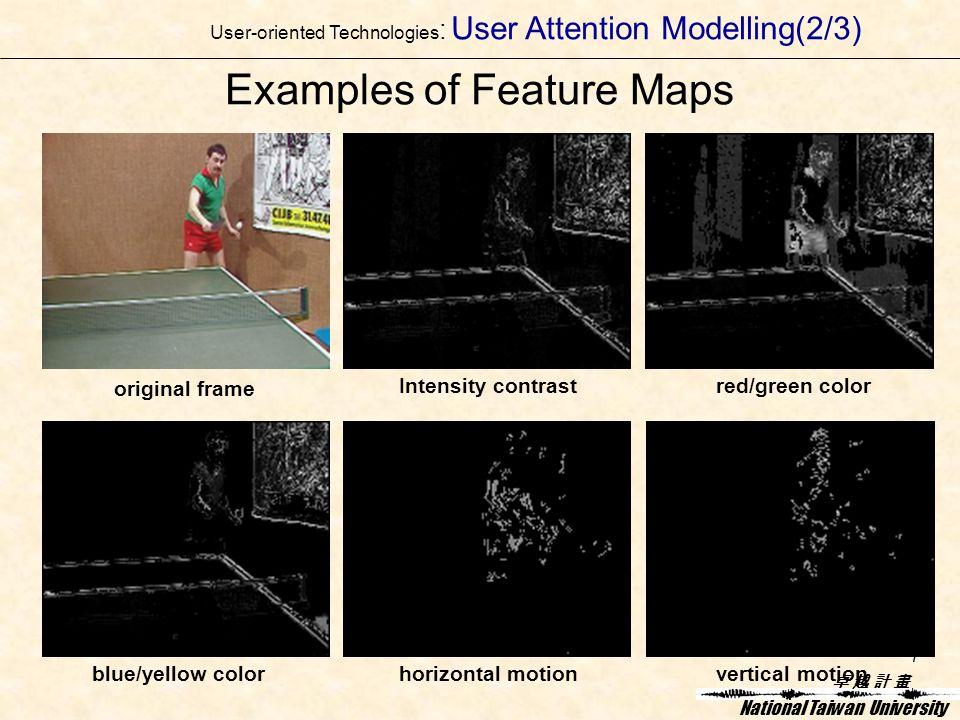 卓 越 計 畫卓 越 計 畫 National Taiwan University 7 Examples of Feature Maps Intensity contrastred/green color blue/yellow colorhorizontal motionvertical motion original frame User-oriented Technologies : User Attention Modelling(2/3)