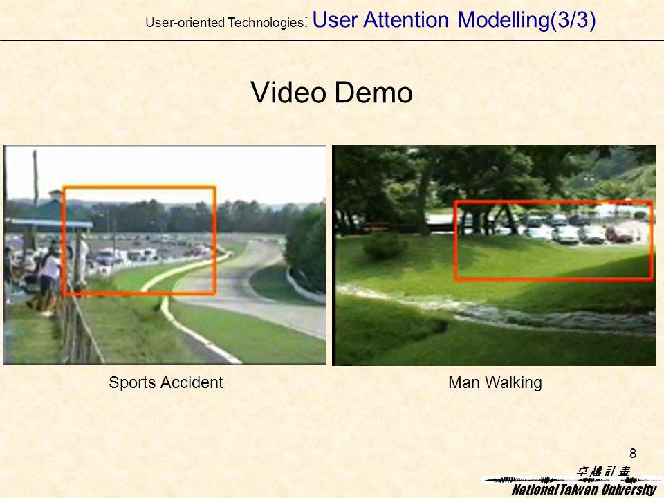 卓 越 計 畫卓 越 計 畫 National Taiwan University 8 Video Demo Sports AccidentMan Walking User-oriented Technologies : User Attention Modelling(3/3)