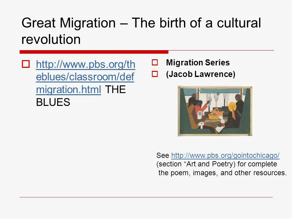 Great Migration – The birth of a cultural revolution  http://www.pbs.org/th eblues/classroom/def migration.html THE BLUES http://www.pbs.org/th eblue