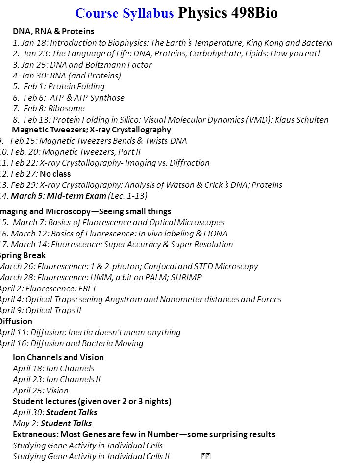 Course Syllabus Physics 498Bio DNA, RNA & Proteins 1.