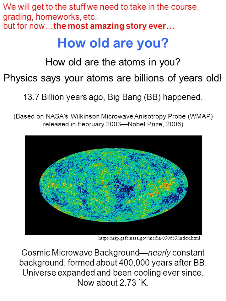 How old are you. Physics says your atoms are billions of years old.