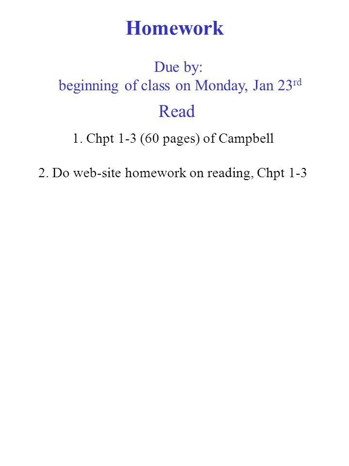 Homework 1. Chpt 1-3 (60 pages) of Campbell 2.
